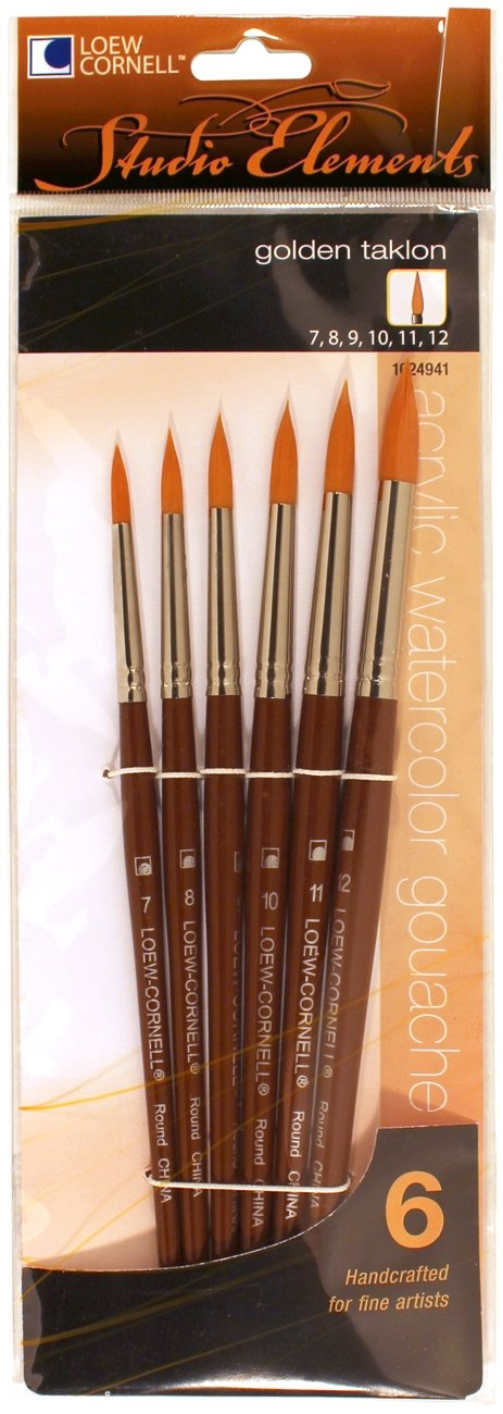 Loew-Cornell 1024941 Studio Elements Golden Taklon Short Handle Round Large Brush Set