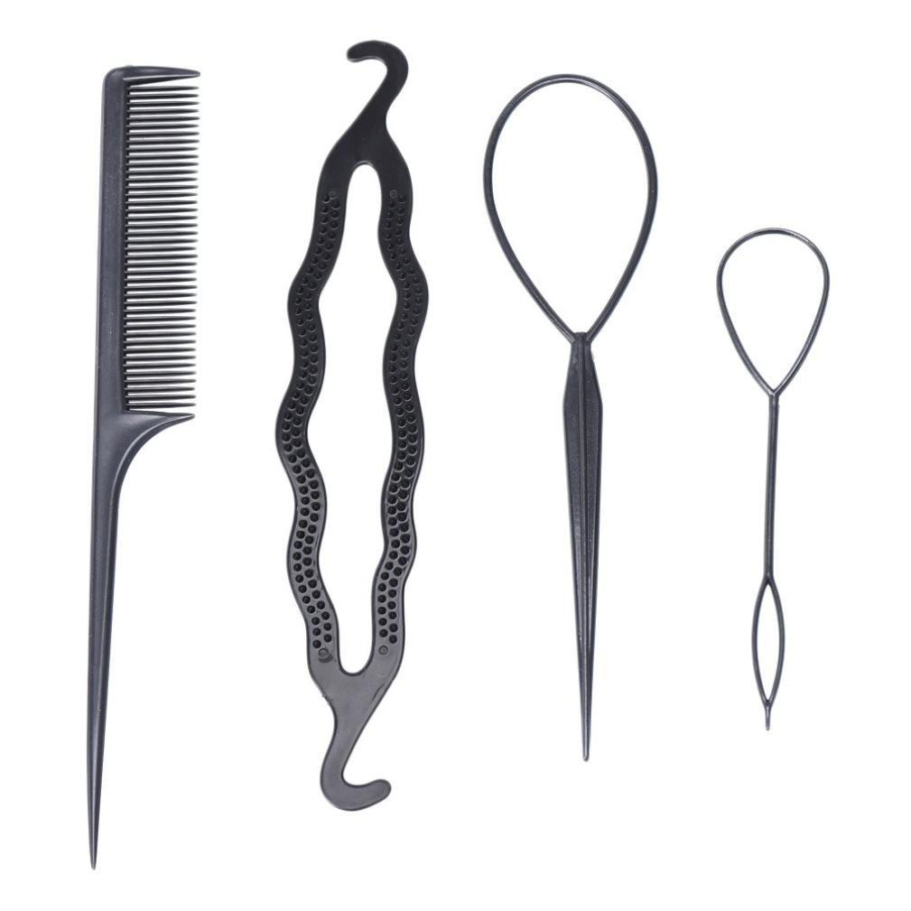 LiPing 4 Pcs Clamping Hairstyle Plastic Magic Pull Hair Pin Tail Hair Braid Ponytail Maker Styling Tool Hair Weaving Hairstyle (Black)
