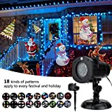 Christmas Decoration, Halloween Projector, 18 Mode Rotating Projector Spotlight, Waterproof LED Landscape Light Outdoor Garden Wall, Decorative Christmas Birthday Pa