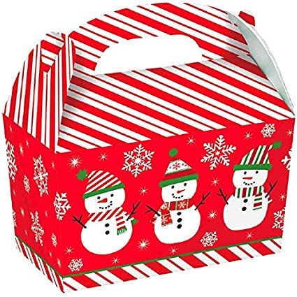 large snowman cardboard gable boxes christmas party gift favour 5 pieces red - Large Cardboard Christmas Decorations