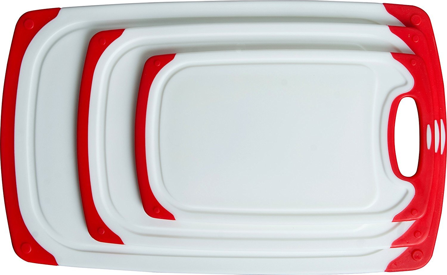 CC Boards 3-Piece Nonslip Cutting Board Set: Red and white plastic kitchen carving boards, each with juice groove and nonskid handle; dishwasher safe Lake House Products LHP002