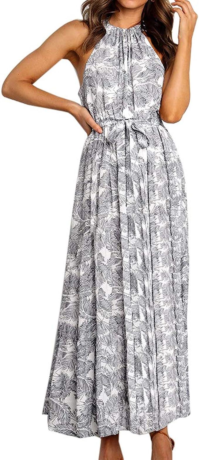 Shujin Damen Boho Sommerkleid Neckholder Kleid Blumendruck