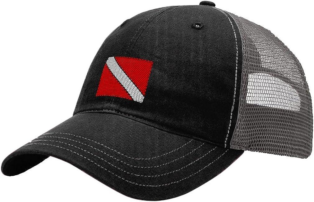Shark Diver Flag Adult Mesh Hat Adjustable Back Trucker Cap Black