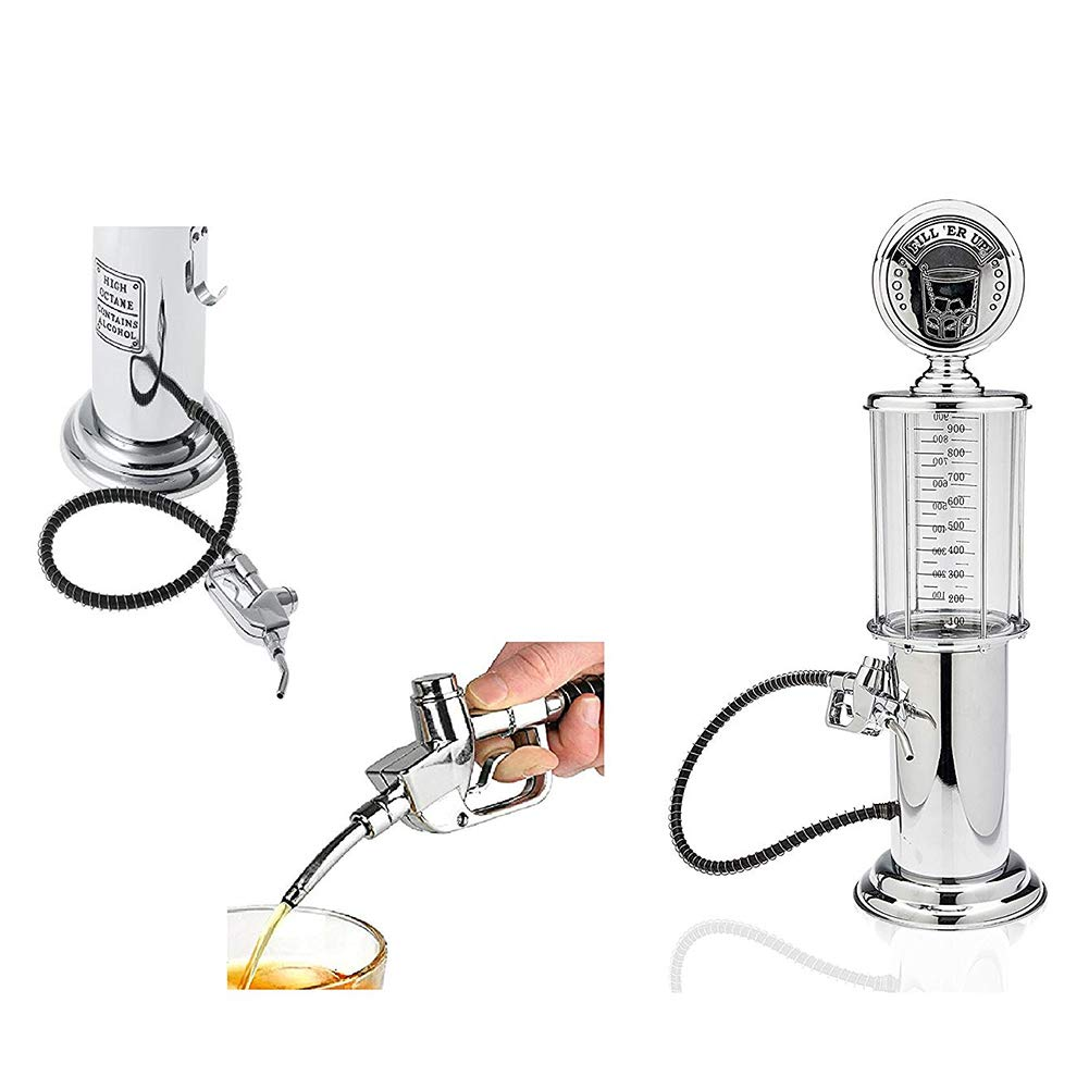 Rum Tequila or Scotch Decanter is Stainless GuanDongQi Gas Pump Whiskey//Bourbon Decanter Wine Liquor Dispenser for Vodka