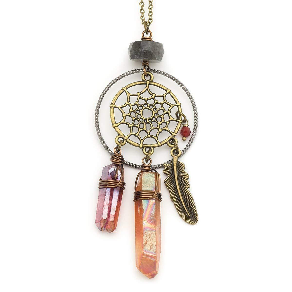 Dream catcher labradorite crystal aura quartz point bronze pendant necklace 22 in