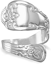 Highly Polished Sterling Silver Spoon Ring, Sizes 6-10, 3/4 inch wide