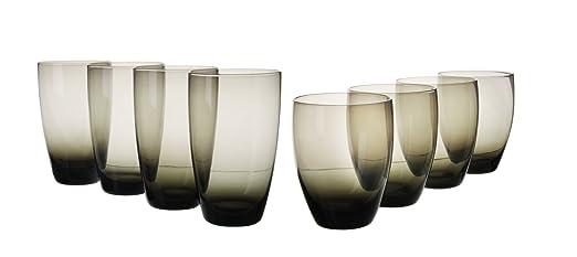 8 vasos color negro ahumado: 4 vasos hiball color negro ...