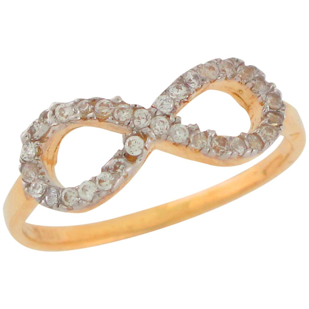 10k Two-Tone Gold White CZ Elegant Infinity Love Friendship Wedding Forever Ring