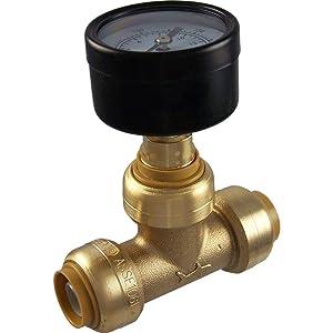 "SharkBite 24436 Brass Push-to-Connect Pressure Gauge, 1/2"""