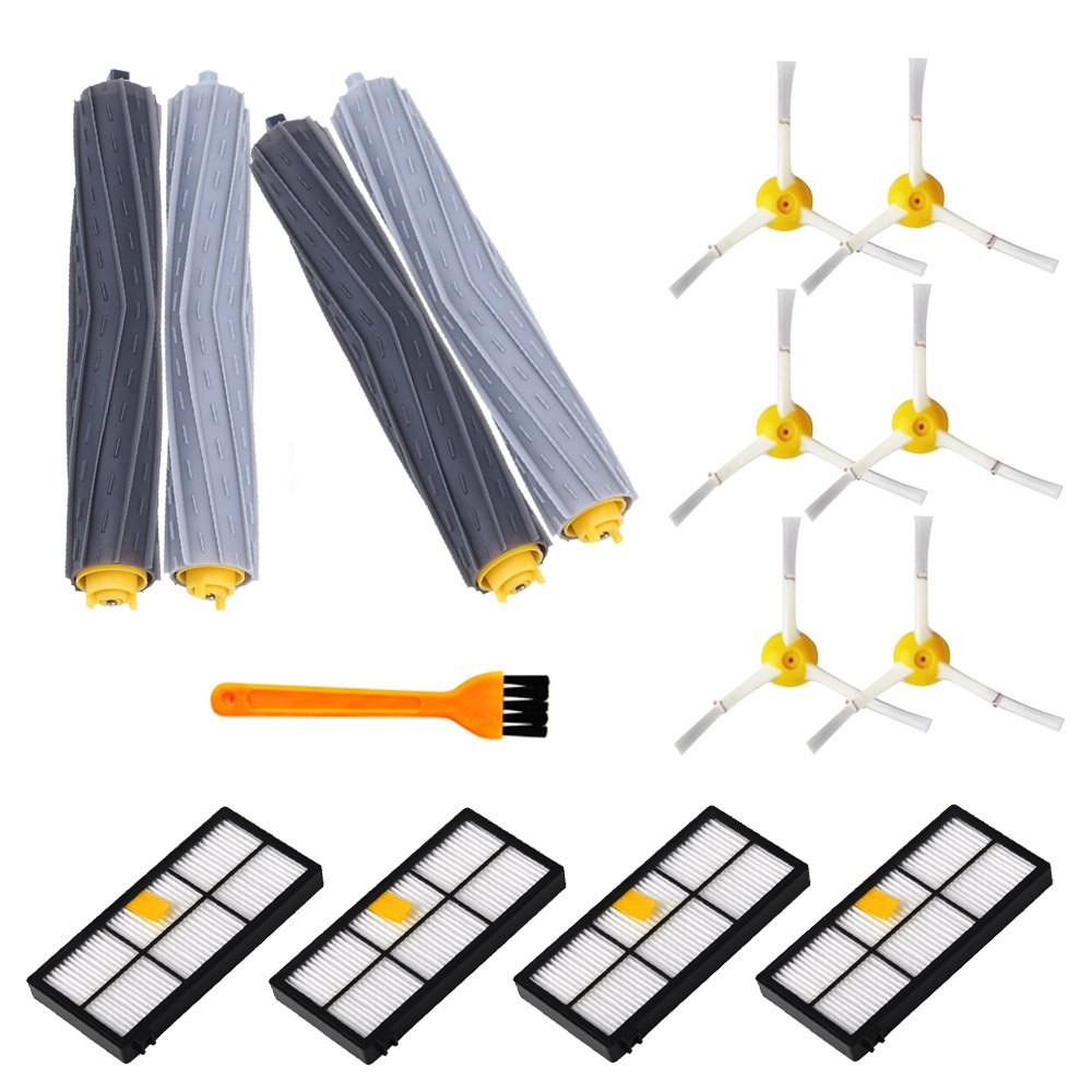 15PCS Replacement Parts for iRobot Roomba 800&900 Series 890 891 894 860 861 864 880 870 980 960 961 964 Accessories with 2 Pairs Debris Rollers 4 Filters 6 Side Brushes and 1 Free Filter Brush DoubleSun