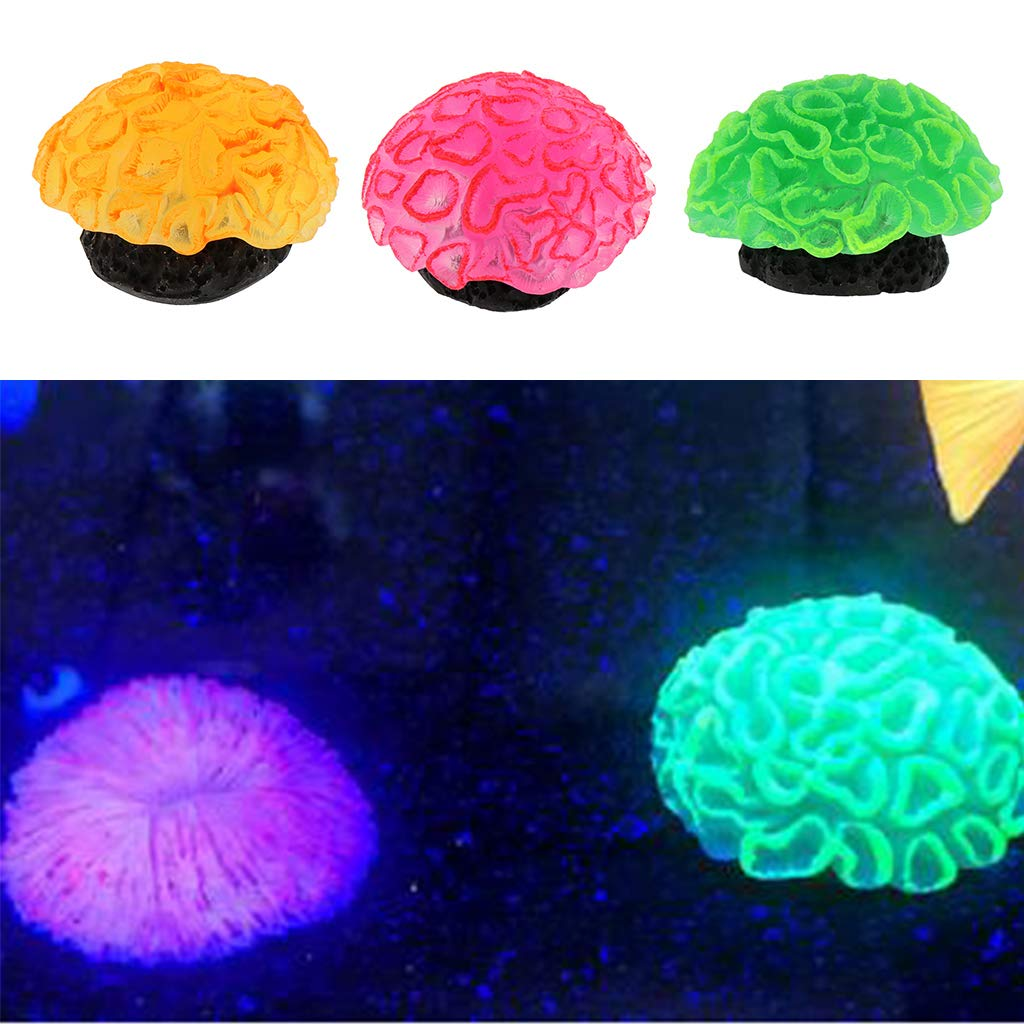 Coral Fish Tank Decoration Ornament Artificial Silicone Plant Landscape joyMerit 3 Pcs Non-Toxic Colorful Glowing Aquarium Decor