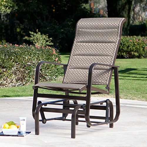 Padded Sling Outdoor Glider Chair MAde w/ Aluminum in Mocha Brown 32.3L x 23.2W x 39.9H in. For Sale