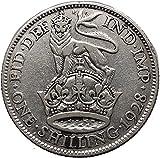United Kingdom 1928 AR 1 Shilling Coin with King George V Crowm Lion i32340