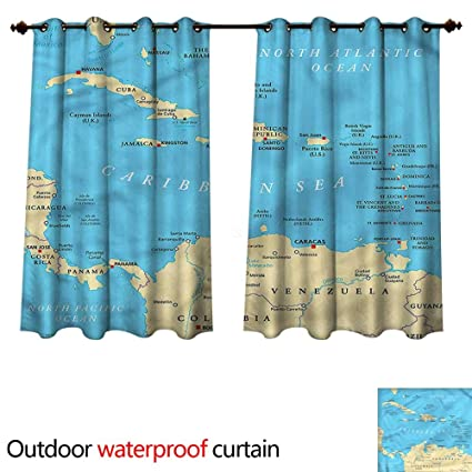 cobeDecor Wanderlust 0utdoor Curtains for Patio Waterproof Caribbean Capitals Map W63 x L72(160cm x