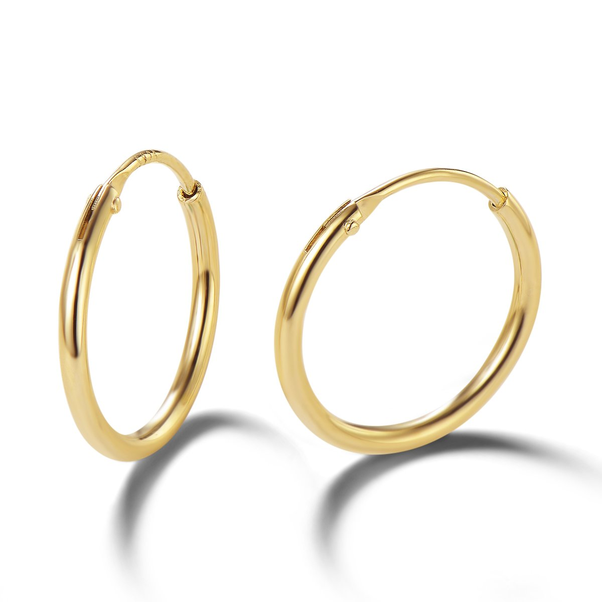 Carleen 14K Yellow Gold Plated 925 Sterling Silver Dainty Endless Hoop Earrings for Women Girls (13mm)