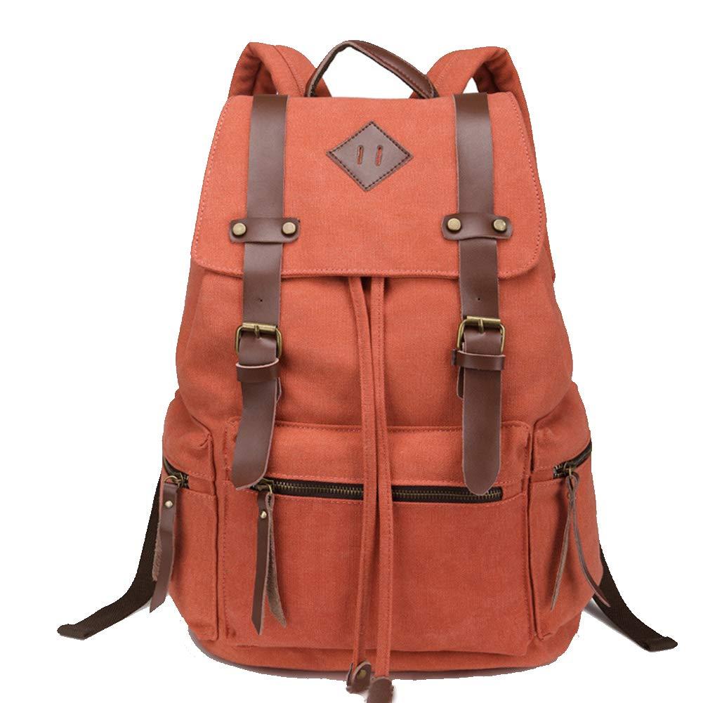 Orange  Sac à dos en toile vintage unisexe, sac à dos scolaire 20L grand sac de voyage en plein air décontracté en plein air