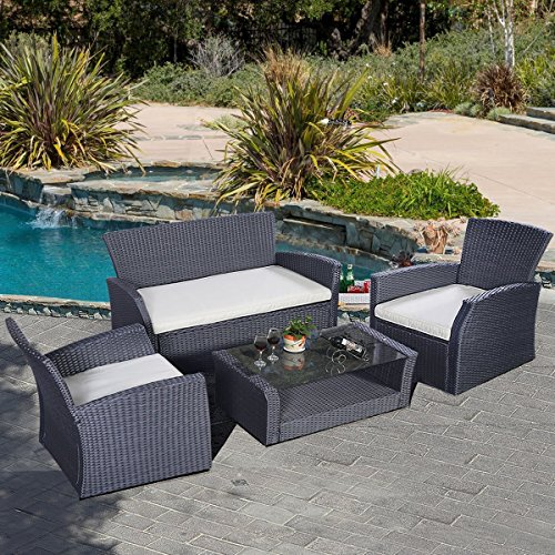 Tangkula 4 pcs outdoor patio lawn deck rattten wicker for Lawn and garden furniture