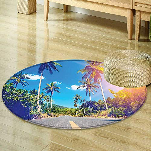 Small Round Rug Carpet Wall Summer Joy Clouds Nature Tropical Beach Art Sun Fabric Exotic Blue Green Door mat Indoors Bathroom Mats  Non Slip ()