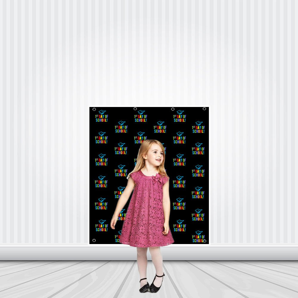 First Day of School Hat Step Repeat Photo Backdrop