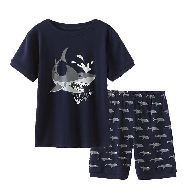 Amazon.com: MyFav Pijamas de tiburón de 2 piezas para niños ...
