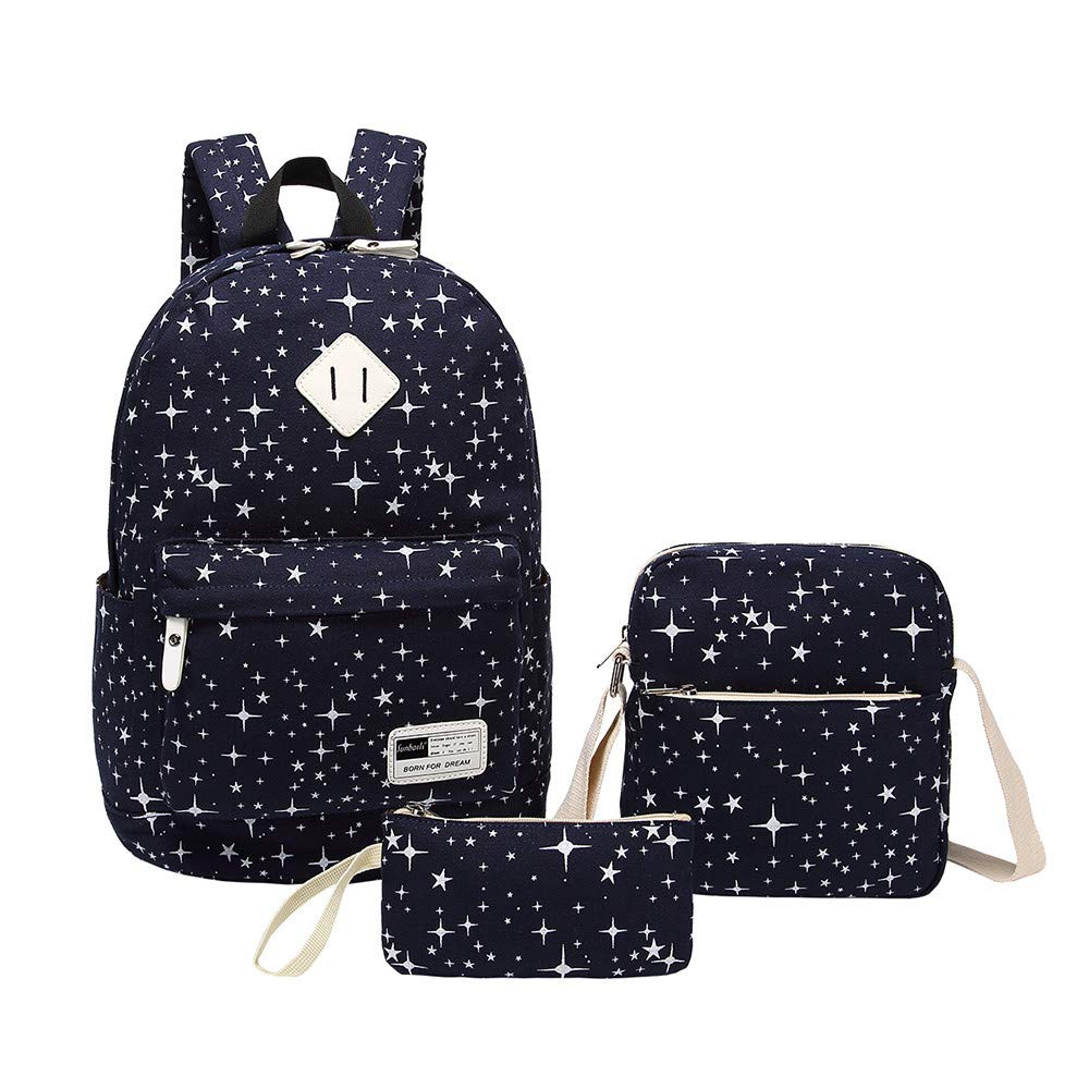 Sammid Travel Canvas Rucksack Backpacks,Fashion 3 Pack Casual Laptop Bag Crossbody Bag Pencil Case Teen Girls Boys - Blue