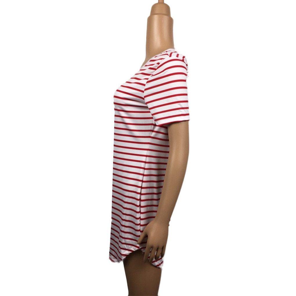 haoricu Women Dress Fall Vintage Autumn New Women Crew Neck Short Sleeve Striped Loose T-Shirt Dress Casual S, Black