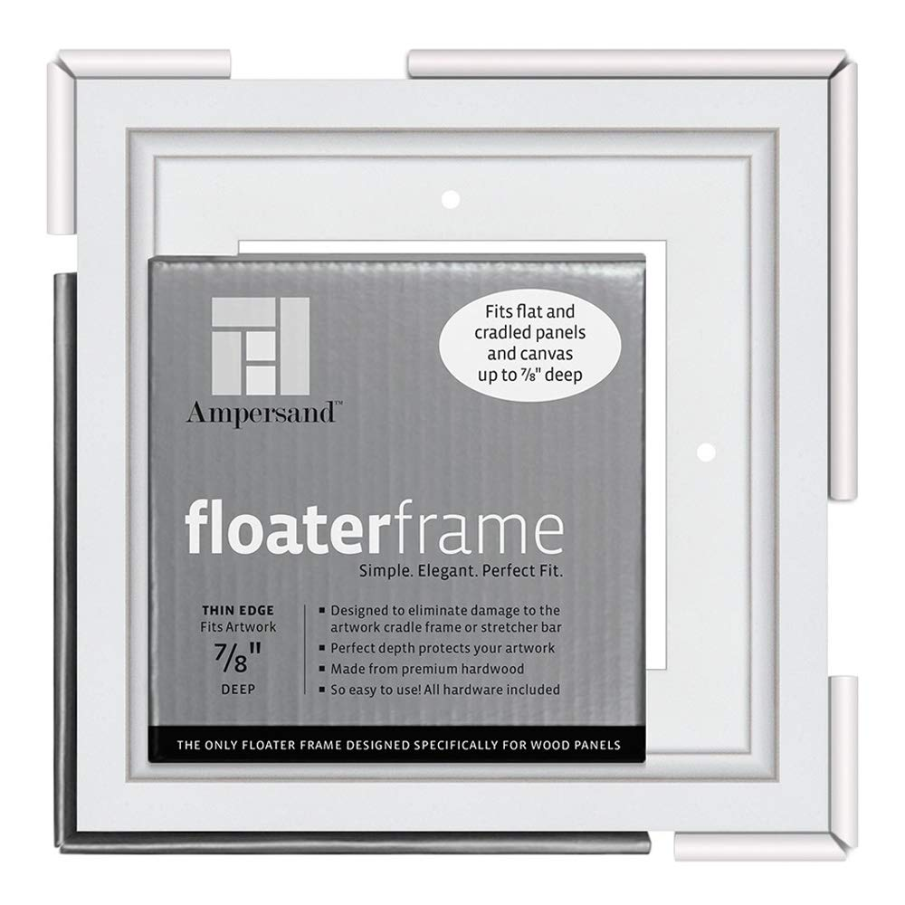 Ampersand Floaterframe for Wood Panels, 7/8 Inch Depth, Bold, 6x6 Inch, White (FBOLD780606W)