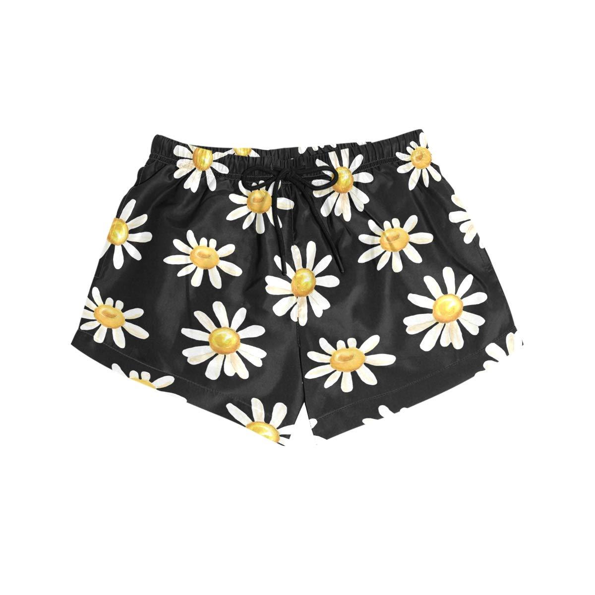 Women Swim Trunks Little Daisy Flowers Black Background Beach Board Shorts