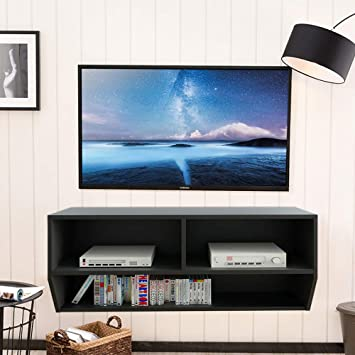 Fitueyes 2-Tire Shelf TV Stand With Wall Mount Entertainment Media Console