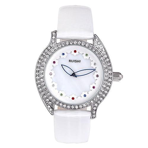 JSDDE Uhren,Elegant Muschel Design Armbanduhr 12 Steine Damenuhr mit Strass Echtleder Band Analog Qa...