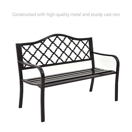 Remarkable Amazon Com Koonlert Shop Metal Outdoor Garden Patio Bench Onthecornerstone Fun Painted Chair Ideas Images Onthecornerstoneorg