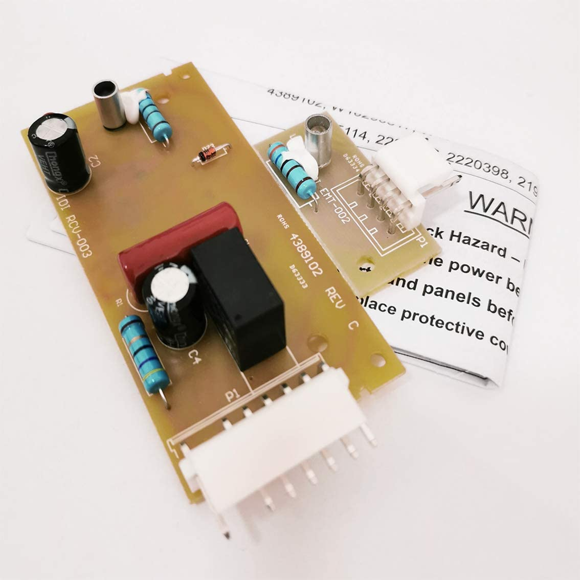 4389102 Refrigerator Icemaker Control Board Kit fit for Whirlpool Maytag Kenmore Emitter Sensor Refrigerators replaces W10290817 W10193666 W10193840 2198586 and 2198585