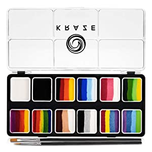 Kraze FX Splash 12 Color Split Cake Palette (6 gm) with 2 Brushes - Water Activated, Hypoallergenic, Safe, Non-Toxic Face Painting Kit for Sensitive Skin, Kids & Adults