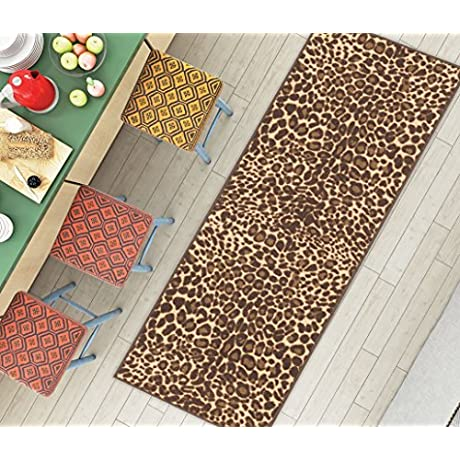Non Skid Slip Rubber Back Antibacterial 2x7 2 X 7 Runner Rug Brown Leopard Animal Print Modern Thin Low Pile Machine Washable Indoor Outdoor Kitchen Hallway Entry