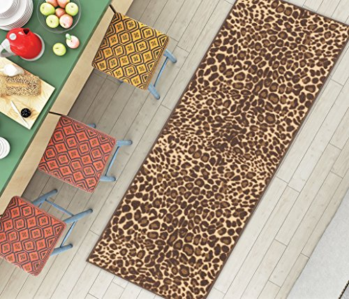 Leopard Print Rugs (Non-Skid Slip Rubber Back Antibacterial 2x7 ( 2' x 7' Runner ) Rug Brown Leopard Animal Print Modern Thin Low Pile Machine Washable Indoor Outdoor Kitchen Hallway Entry)