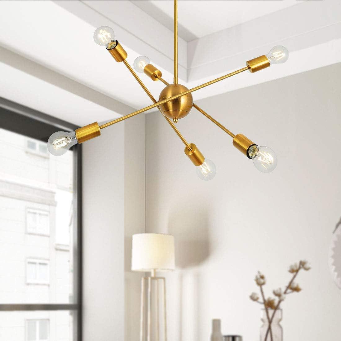 Sputnik Chandelier 6 Lights Gold Rotatable Modern Ceiling Light Adjustable Arms Industrial Vintage Pendant Lighting Fixture for Kitchen Dining Room Living Room