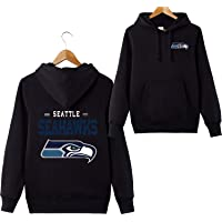 Men's Long Sleeve Hooded Letters Print Seattle Seahawks Football Team Solid Color Pullover Hoodies Cardigans