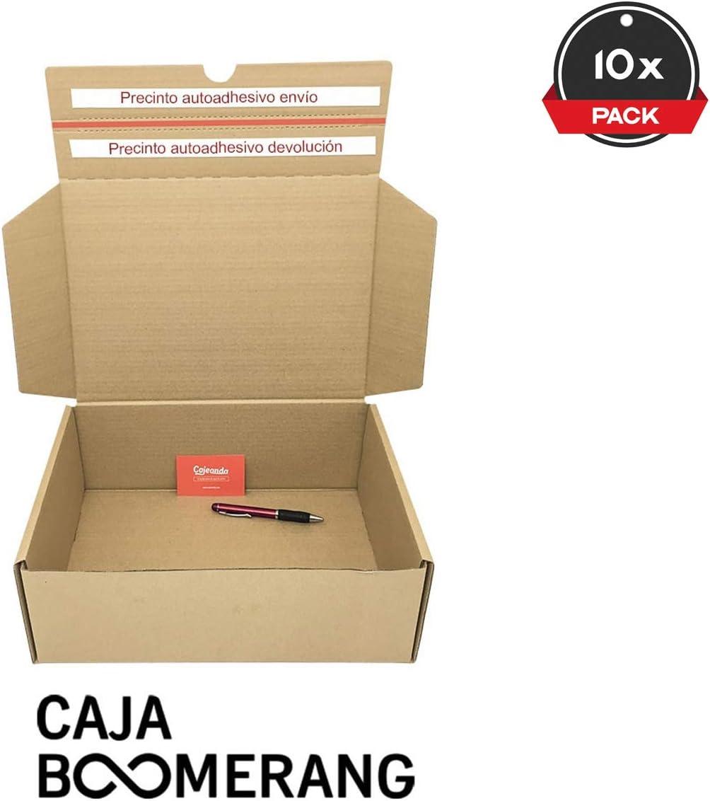 Cajeando | Pack de 10 Cajas de Cartón para Envíos (Caja Boomerang Doble Envío) | Tamaño 35 x 25 x 13 cm | Color Marrón | Permite Hacer Dos Envíos en Uno | Mudanzas | Fabricadas en España