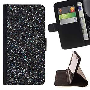For Samsung Galaxy J3(2016) J320F J320P J320M J320Y Case , Negro Maravilla Scatter Estrellas Paint- la tarjeta de Crédito Slots PU Funda de cuero Monedero caso cubierta de piel