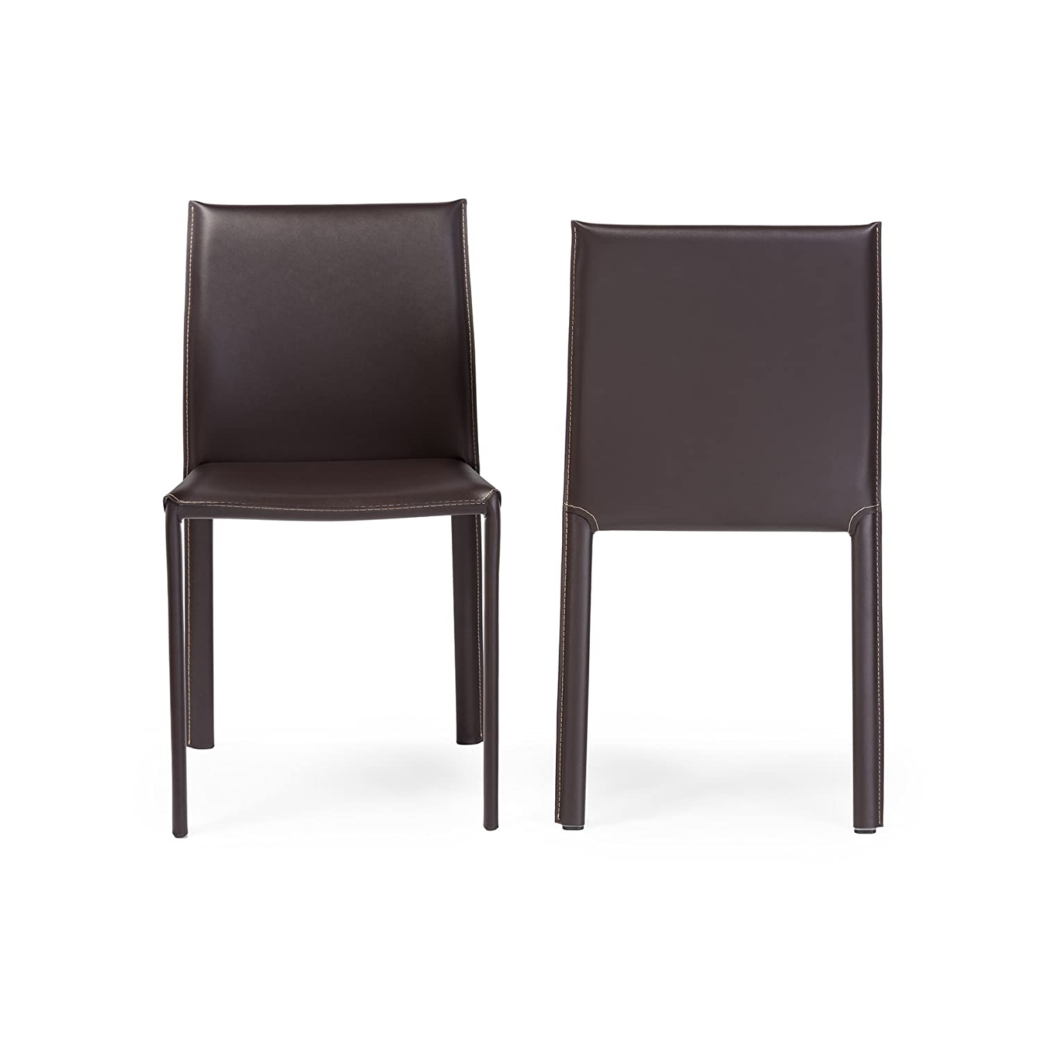 Amazon.com: Baxton Studio Leather Dining Chair, Set of 2, Espresso ...