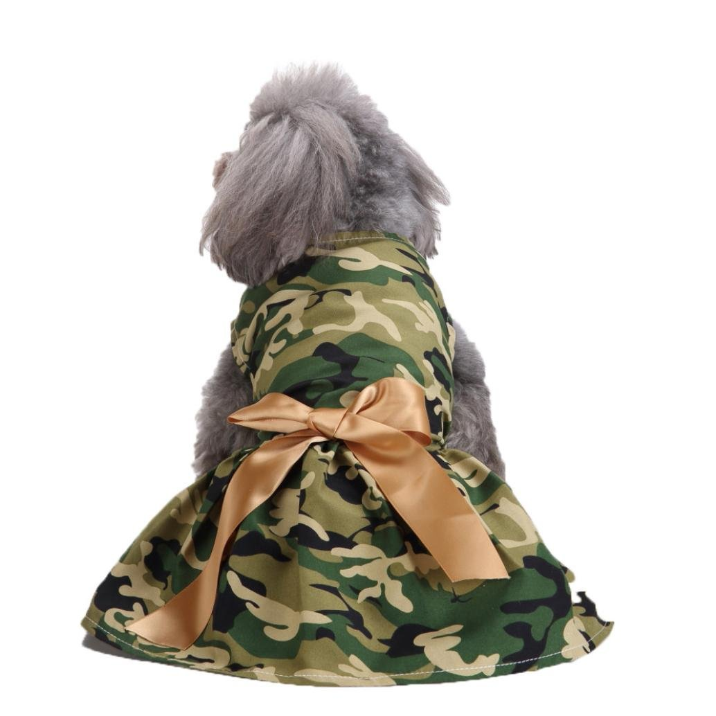 Pet Clothes, OOEOO Fashion Camouflage Pet Dog Cat Dress Bow Skirt Puppy Apparel (Camouflage, S)