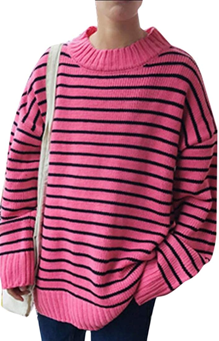 yibiyuan Mens Tops Loose Long Sleeve Striped Pullover Crew Neck Sweater