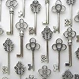 Aokbean Vintage Skeleton key in antique silver Style - set of 30pcs (Antique Silver)