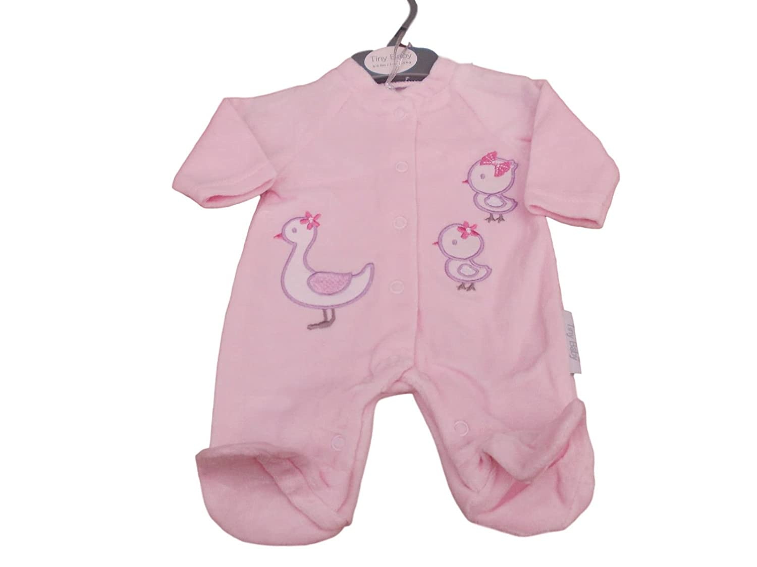 Tiny Baby with Tags Premature Little Duck Velour Sleepsuit 3-5 5-8lb