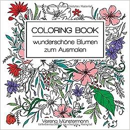 Coloring Book Wunderschone Blumen Zum Ausmalen 9783752831764