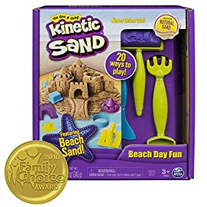 Kinetic Sand Beach Day Fun Playset with Castle Molds Tools, and 12 Oz. of Sand, for Ages 3 and up … (Deluxe Pack - Includes Toys)