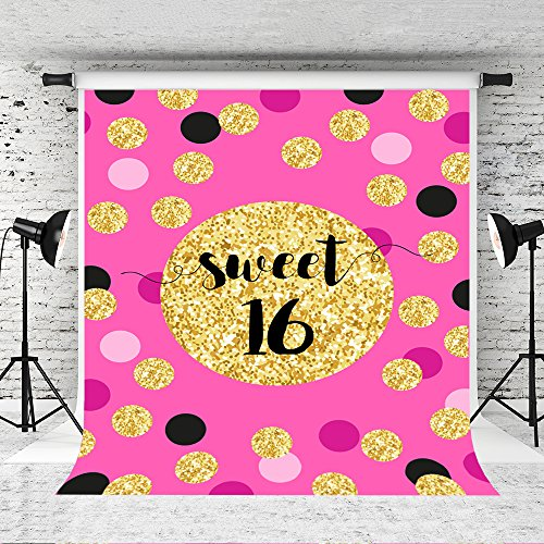 Kate 5x7ft Pink Theme Sweet 16 Photography Backdrop Golden Circle Background for Princess Photo Studio Customized Props -