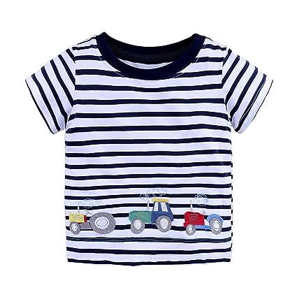 NUOVO Bambini Bambini Ragazzi Ragazze Unisex A Righe Corta T-Shirt Top Casual Estate