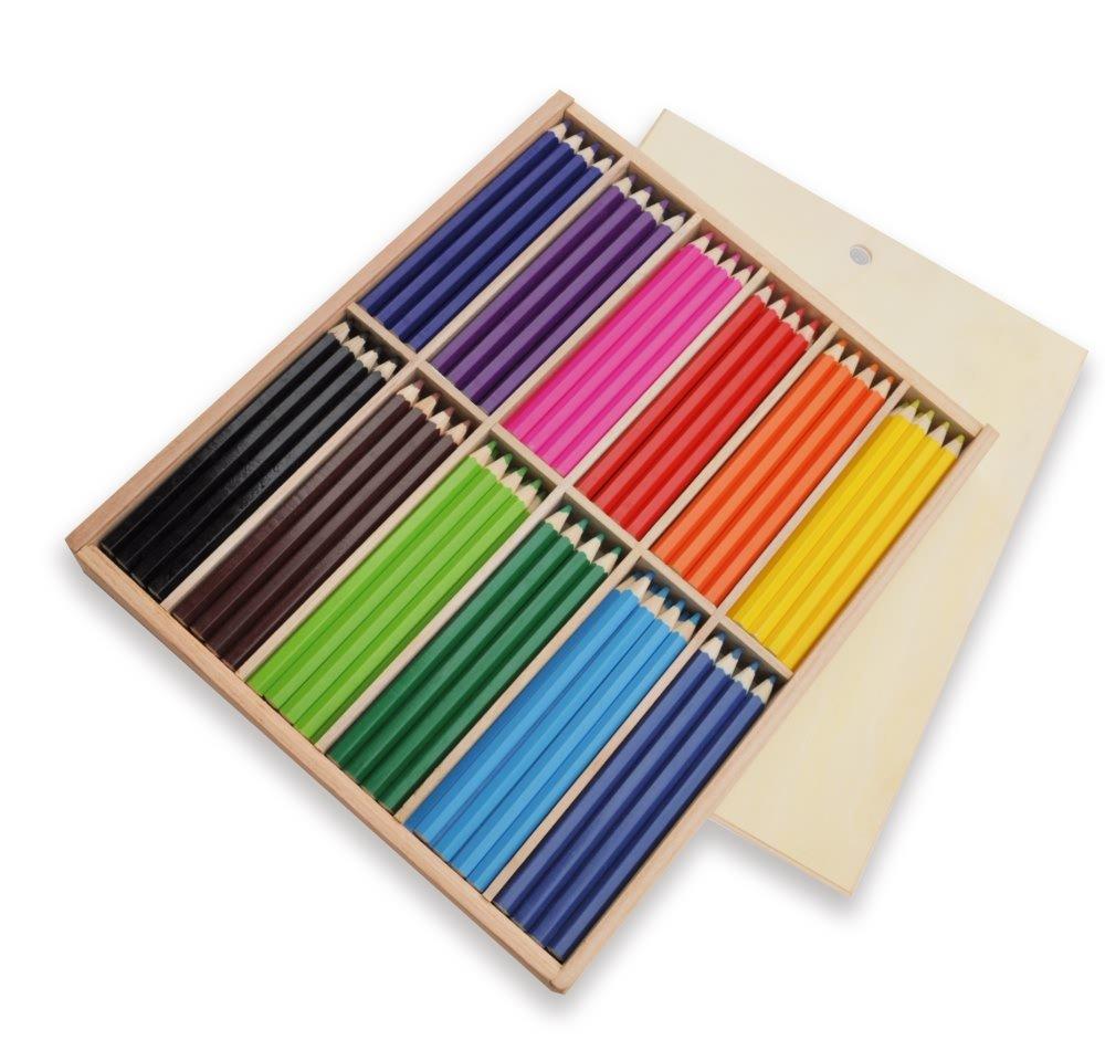 diseños exclusivos Playbox Lápices de colores en en en caja de madera gruesas, hexagonales - 144 PC (PBX2470381)  envío gratis