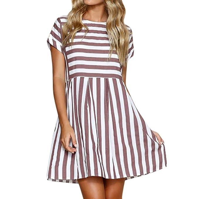 b3457141cedd7 HUYB 夏女性人気可愛い ストライプ クルーネック ドレス 半袖ラウンドネック ショートワンピース 学生 レディーズ